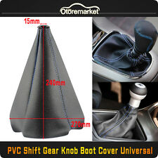 BLACK/BLUE PVC LEATHER STITCH BOOT MANUAL AUTO SHIFT BOOT TRANSMISSION COVER
