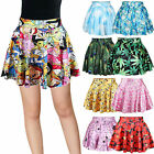 Women Printed Stretchy High Waist Skater Flared Pleated Mini Short Skirt Dress