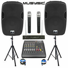 """Complete Professional 2000W PA System 6 CH Mixer 15"""" Speakers Wireless Mics BT"""