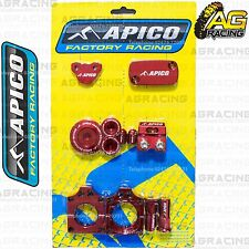Apico Bling Pack Red Blocks Caps Plugs Clamp Covers For Honda CRF 450R 2009-2015