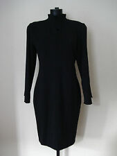 VINTAGE DESIGNER COMPAGNIE N.G FRENCH PURE WOOL BLACK DRESS SIZE 12- / EU 40