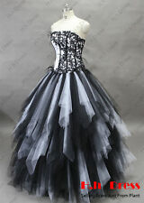 Gothic Black WhiteTulle Quinceanera Wedding Dress Pageant Prom Ball Bridal Gown