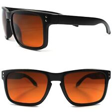 Matte Black Vintage Retro Amber Lens Blue Blocker Driving Outdoor Sunglasses