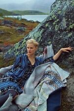 Anthropologie Holding Horses Black Blue Winter Moon Tiered Tunic Dress M $158