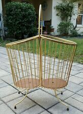 vintage mid century atomic RETRO ART DECO metal wire TEAK magazine rack stand