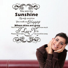 Inspiration Quote You are my sunshine Wall Stickers Home room Decal Decor Mural