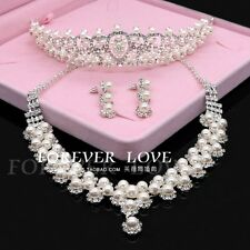 Wedding Pearl Crystal Tiara Crown+Necklace+Earring Set Handmade Bridal Accessory