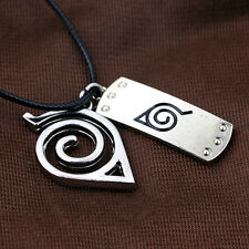 Hot Naruto Sarutobi Konoha Choker Double Pendant Necklace Cosplay Jewelry Gift