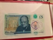 Bank of England UK NEW polymer £5 five pound note. 44444!!!