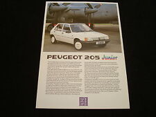 "PEUGEOT 205 ""JUNIOR"" UK SALES BROCHURE - DATED JUNE 1988"
