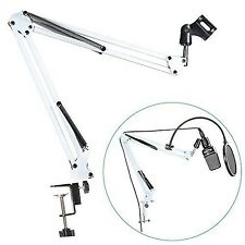 NEEWER White Microphone Suspension Boom Scissor Arm Stand Studio Mic Holder