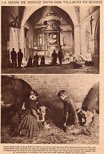 PAGE DECOUPEE 1919 60 NOYON PROCHE MESSE DE MINUIT DANS VILLAGE EN RUINES