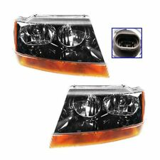 Headlights Headlamps Left LH Right RH Pair Set for 99-04 Grand Cherokee Laredo