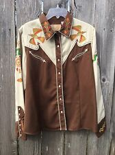 Scully Women's L Tan Brown Embroidered L/S Snap Front Western Shirt Lady Phoenix