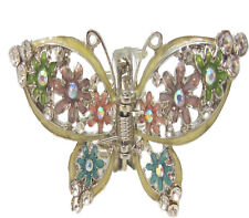 Anthony David Silver & Pastel Floral Butterfly Crystal Hair Accessory Claw
