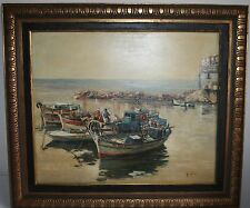 VINTAGE SEASCAPE OIL PAINTING FISHERMAN AT WORK