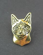 Siamese Cat Brooch or Pin -  Fashion Jewellery - Gold Plated, Stud Back