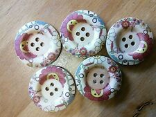 5 big wooden buttons 30 mm craft scrap book sewing