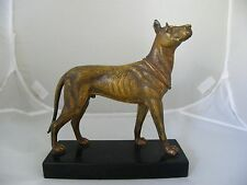 ANTIQUE COLD PAINTED SPELTER GREAT DANE DOG FIGURE ON MARBLE BASE