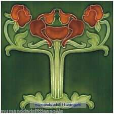 LOVELY ART NOUVEAU ORANGE TULIP FLOWER DESIGN SQUARE TABLE MAT PLACEMAT SERVER