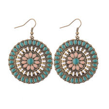 Women's Vintage Bohemian Boho Style Colorful Beads Hollow Round Dangle Earrings