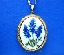 Porcelain TEXAS BLUEBONNET State Flower CAMEO GT Locket Necklace Valentine Gift