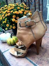 BEBE Leather High Heel Ankle Wrap Buckskin Peep Toe Women Stilettos Shoes Sz 9 ~