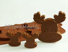 4+1 Reindeer Christmas Chocolate Candy Cookie Silicone Bakeware Mould Cake Mold