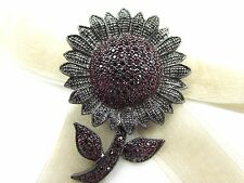 Sunflower Red Swarovski Element Austrian Crystal Rhinestone Brooch Pin