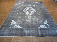 8 X 12 Hand Knotted Overdyed Gray Persian Tabrez Oriental Rug G3354