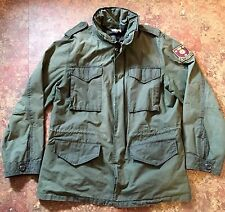 RARE Ralph Lauren Polo Rugby Military Field Jacket Coat Barbour Waxed  NYC Gangs