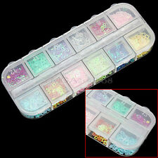 Hot Sale 12 Colors 3D Nail Art Stickers Decoration DIY For UV Gel Manicure Tips