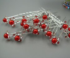 Free 5Pcs Red Swarovski Crystal Rhinestone Pearl Hair Pins Clips Wedding