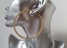SEXY! large 8cm gold tone oversized chain effect hoop earrings, NEW IN!