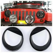 2X Black Bezels Front Light Headlight Angry Bird Style Cover For Jeep Wrangler b