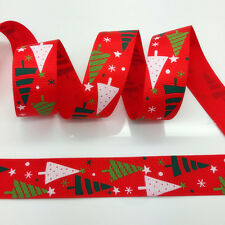NEW~ 5 Yards 1Inch Printed Christmas Grosgrain Ribbon Hair Bow DIY Sewing #A144