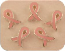 Beads Pink Ribbons Handpainted ~ Breast Cancer Awareness ~ 2 Hole Sliders QTY 5
