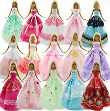 RANDOM 5 Beautiful Dress Princess Gown Wedding Party Clothes For Barbie Doll 12""