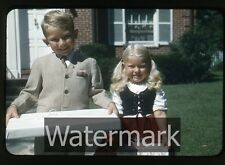 1950s red border kodachrome Cute Young girl and boy with presents gifts  GOP33