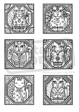 A6 'Decorative Cat Collection' Unmounted Rubber Stamp (SP003983)