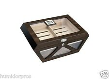 CIGAR HUMIDOR 100 ct Hexagon w/ Glass Top Front Humidifier Digital Hygrometer M