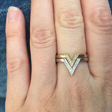 Swarovski Triangle Rings Yellow Gold and White Gold Plated Cubic Zirconia
