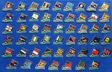 52 Diff. Commonwealth Games Country Flag Lapel Pins w/ Orca Killer Whale Mascot