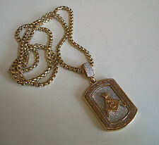 GOLD FINISH W/GLITTER MASON  PENDANT & COMPLEMENTARY CHAIN