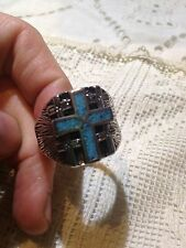 1980's Vintage Large Stainless Steel Size13.75 Men's Cross Inlay Ring