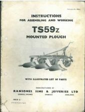 RANSOMES PLOUGH TS59Z OPERATORS MANUAL - TS 59 Z