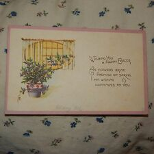 Vintage Postcard Wishing You A Happy Easter Poem, Flower Pot With Purple Flowers