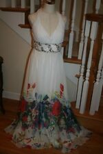 La Femme Dress White Floral Size 14 Crystal Beading Sequins Gorgeous PROM Formal