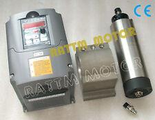 1.5KW Air Cooled Spindle Motor ER16 220V + 1.5KW Inverter VFD+80mm Clamp for CNC