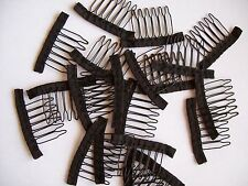 New Lot of 20 6-teeth wig spring black wire combs clip handmade lace wigs caps